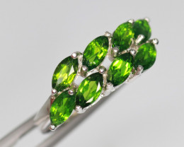Gorgeous Natural Chrome Diopside & 925 Fancy Sterling Silver Ring