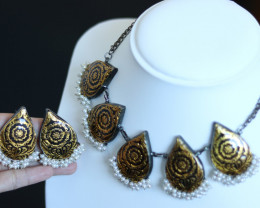 Unique and Custom Curated Hand Made Necklace & Earrings  RT-263