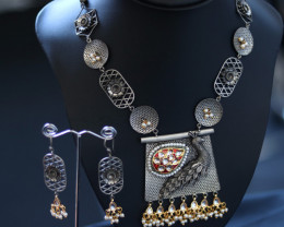 Unique and Custom Curated Hand Made Necklace & Earrings  RT-275