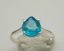 Natural Blue Apatite 925 Silver Ring