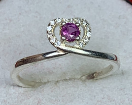 Natural 9.00 Carats pink corundum Kashmir 925 Silver Ring
