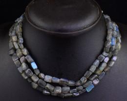 Genuine 375.00 Cts 3 Line Labradorite Beads Necklace