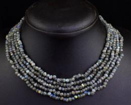 Genuine 275.00 Cts 5 Line Labradorite Beads Necklace