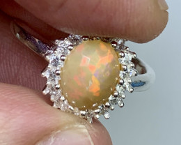 Natural 18.00 Carats fire Opal with Cz 925 Silver Ring