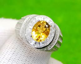 Natural Citron (Citrine) CZ Silver Ring