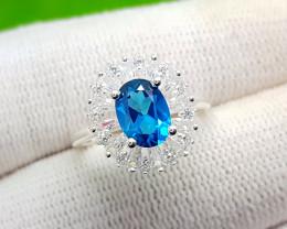 Natural Dark Blue Coated Topaz Silver Ring