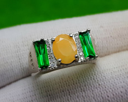 Natural Faceted Opal Silver Ring