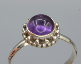 AAA Natural Amethyst 13.34 Cts Silver Ring Antique  Design