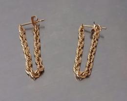 VINTAGE 10K ROPE CHAIN DROP PIERCED EARRINGS - YELLOW GOLD