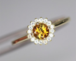 Attractive Natural Tourmaline, CZ & 925 Fancy Yellow Sterling Silver