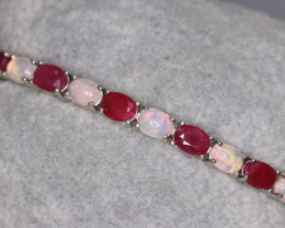 Gorgeous Natural Fire Opal, Ruby & 925 Fancy Sterling Silver