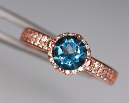 Gorgeous Natural Topaz, CZ & 925 Fancy Rose Gold Sterling Silver