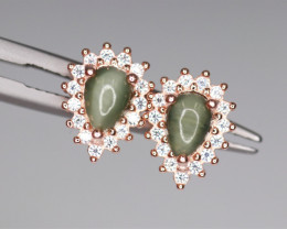 Attractive Natural Cat's-eye, CZ & 925 Fancy Rose Gold Sterling Silver
