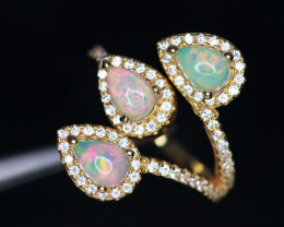 Gorgeous Natural Fire Opal, CZ & 925 Fancy Yellow Sterling Silver