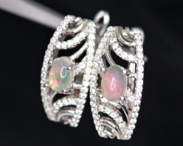 Gorgeous Natural Fire Opal, CZ & 925 Fancy Sterling Silver