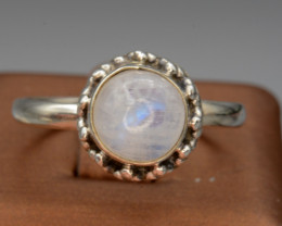 Antique Design Natural Moon Stone Silver Ring 13.31 Cts