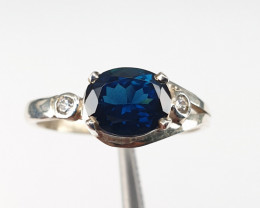 Natural Indicolite Tourmaline and CZ Ring