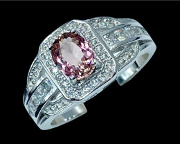0.67ct.Elegant Natural Pink Tourmaline Silver925Ring.DTM438