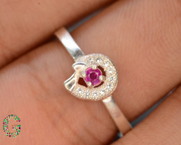 Unique Design 8.60 Ct Silver Ring ~ With Baby Pink Spinel !