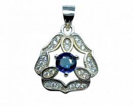 0.50ct.Artistic London Blue Topaz Gemstone Silver925 Pendant.DLT470