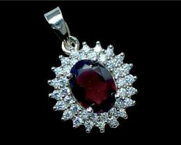 1.47ct.Elegant atural Rhodolite Garnet Silver925 Pendant.DRG477