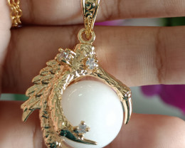 Natural Dragon Claw White Crystal With CZ Gold Plated Handmade Pendant