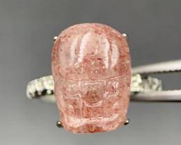 Excellent Carving Natural Strawberry Quartz Ring. St-230