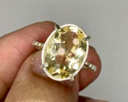 Natural 5.00 Carats yellow citrine hand made925 Silver Ring