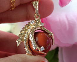 Natural Dragon Claw Red Jasper With CZ Gold Plated Handmade Pendant