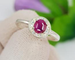 Natural Ruby 10.30 Carats 925 Silver Ring