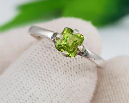Natural Green Peridot 7.45 Carats Hand Made Ring