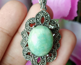 Natural Hemimorphite With CZ Antique Design Gold Plated Handmade Pendant