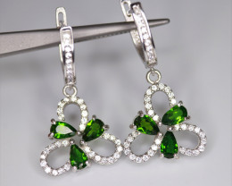 Attractive Natural Chrome Diopside, CZ & 925 Fancy Sterling Silver Earring