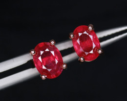 Attractive Natural Ruby & 925 Rose Gold Sterling Silver