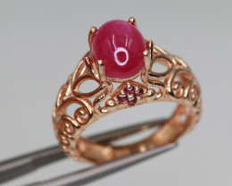 Gorgeous Natural Ruby, Garnet & 925 Fancy Rose Gold Sterling Silver