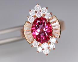 Gorgeous Natural Pink Topaz, CZ & 925 Fancy Rose Gold Sterling Silver
