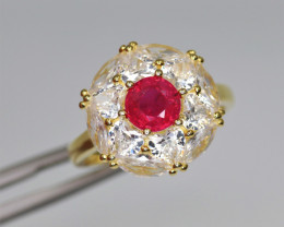 Fabulous Natural Ruby, CZ & 925 Fancy Yellow Sterling Silver