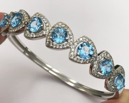 Top Swiss Topaz Bangal With CZ In Silver 925