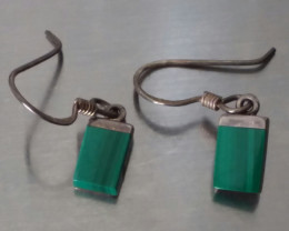 VINTAGE SIGNED BOCCO MALACHITE EARRINGS STERLING SILVER 925