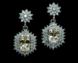 1.46ct.Alluringly Heliodor Eye's Catching Silver925 Earring.DHD495