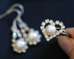 Lovers Ivory Pearl set, Heart Shape Adj ring, and Earrings CCC 677a