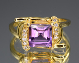 Gorgeous Natural Amethyst & CZ Rose Gold Plating Silver Ring