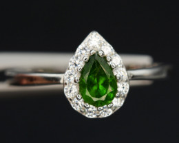 Gorgeous Natural Chrome Diopside , CZ Silver Ring