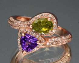 AAA Natural Peridot and Amethyst Rose Gold Plating Silver Ring