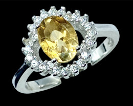 1.03ct.Attractive Natural Citrine Gemstone Silver925Ring.DCT462