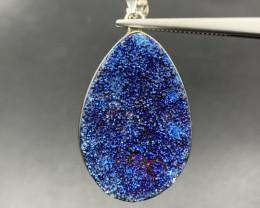 Excellent Blue Druzy Agate Pendant. Agr-41