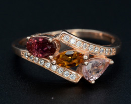 Multi-Color Natural Tourmaline & CZ Rose Gold Plating Silver Ring
