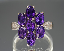 Top Color  Natural Amethyst & CZ 17.29 Cts Silver Ring