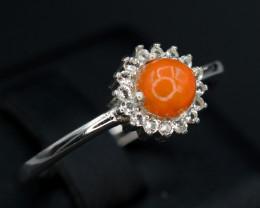 Beautiful Natural Fire Opal & CZ Silver Ring