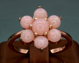 AAA Natural Pink Opal & CZ, Rose Gold Plating Silver Ring